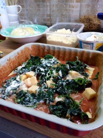 Lasagna ricotta e spinaci al pomodoro