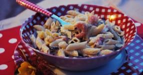 pasta-con-gamberetti-e-zucchine, pasta-veloce-con-filadelfia